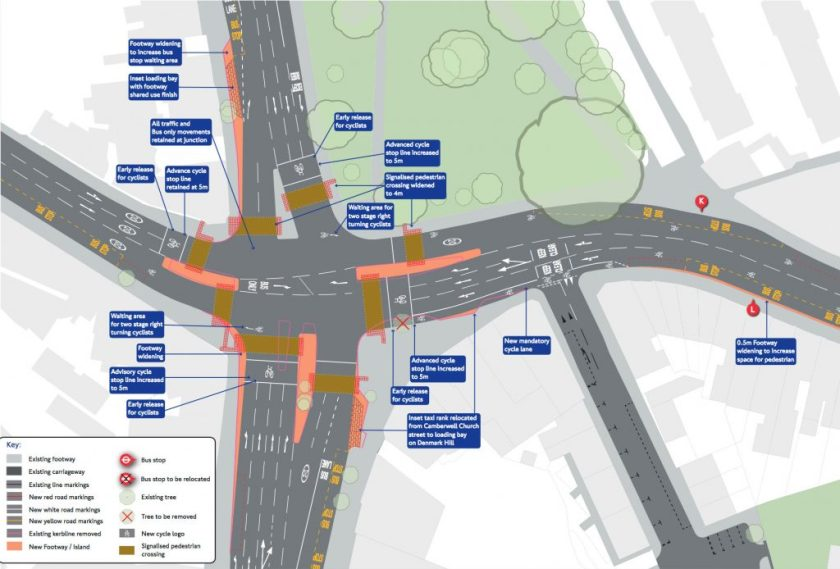 Map of proposed changes to Camberwell Green junction