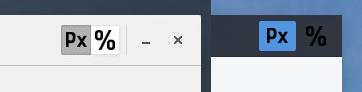 A la derecha botones con imagen en un tema GTK claro, a la derecha lo mismo pero con un tema oscuro