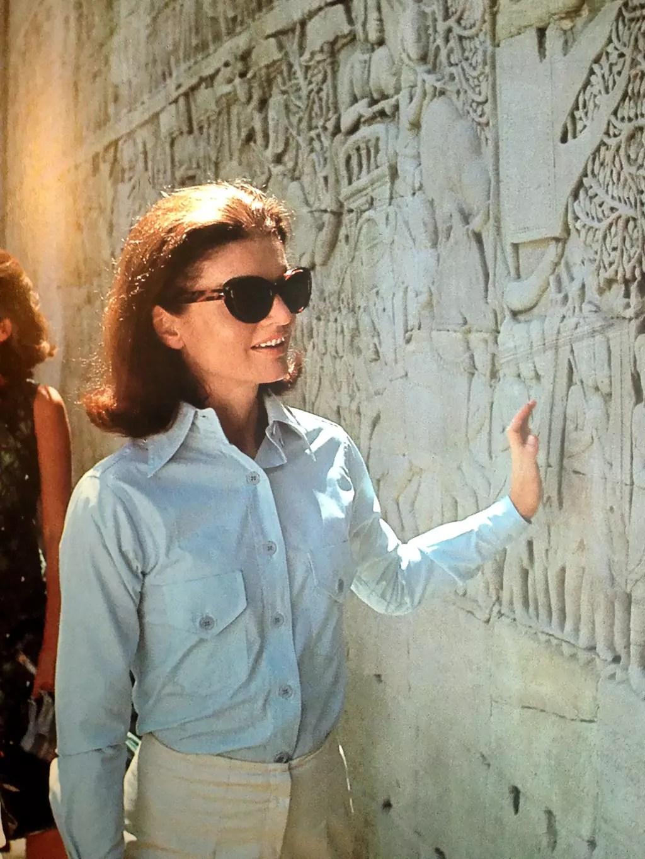 Jackie Kennedy at Angkor Wat, 1967.