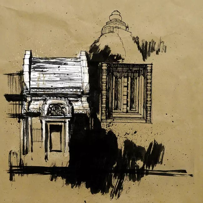 Blasco – Pen, Ink and Charcoal Drawings Of Angkor Wat 03