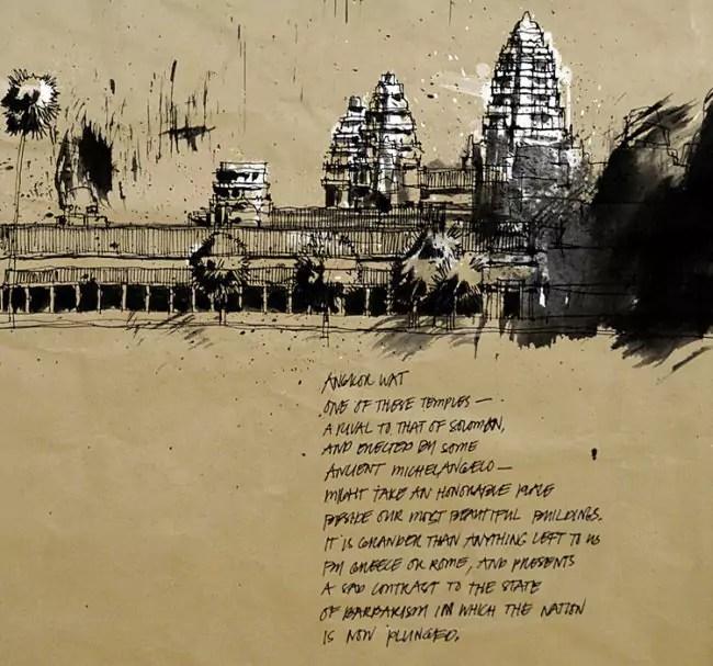 Blasco – Pen, Ink and Charcoal Drawings Of Angkor Wat 05