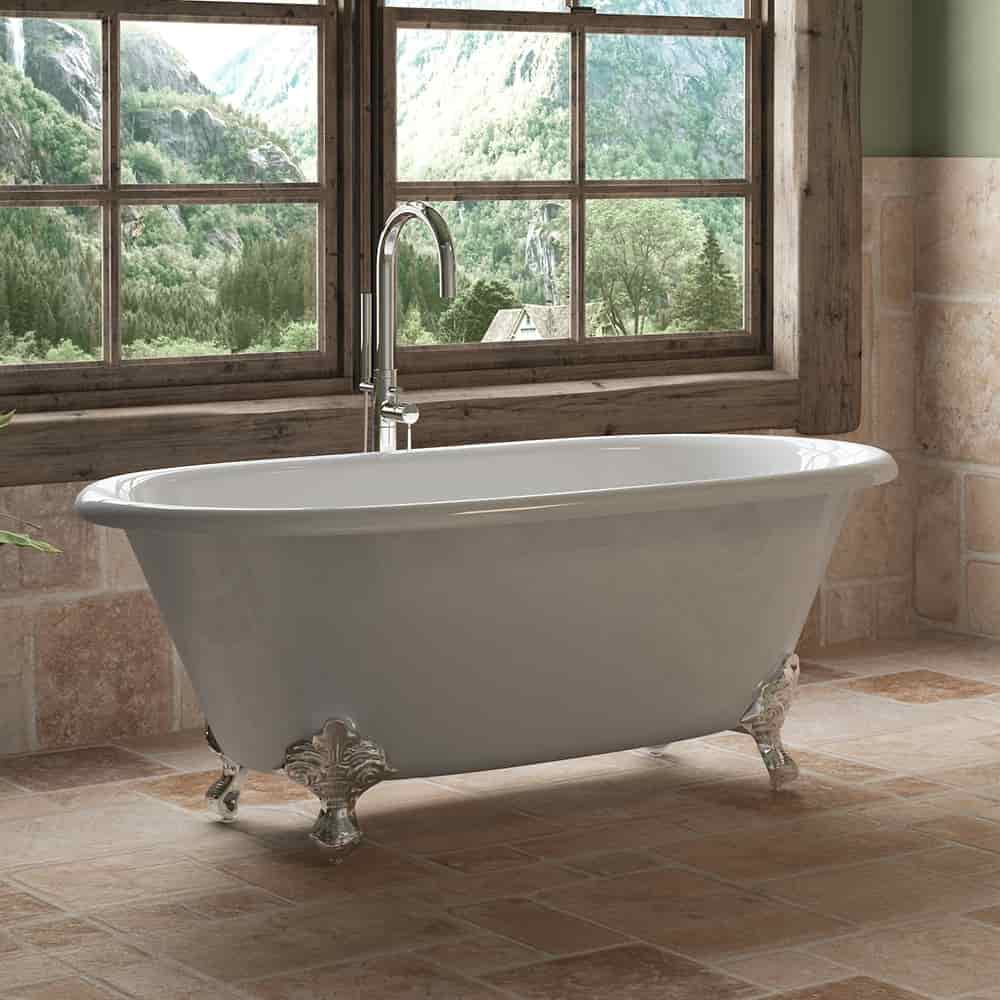 60 Double Ended Clawfoot Tub With Freestanding Plumbing Pkg