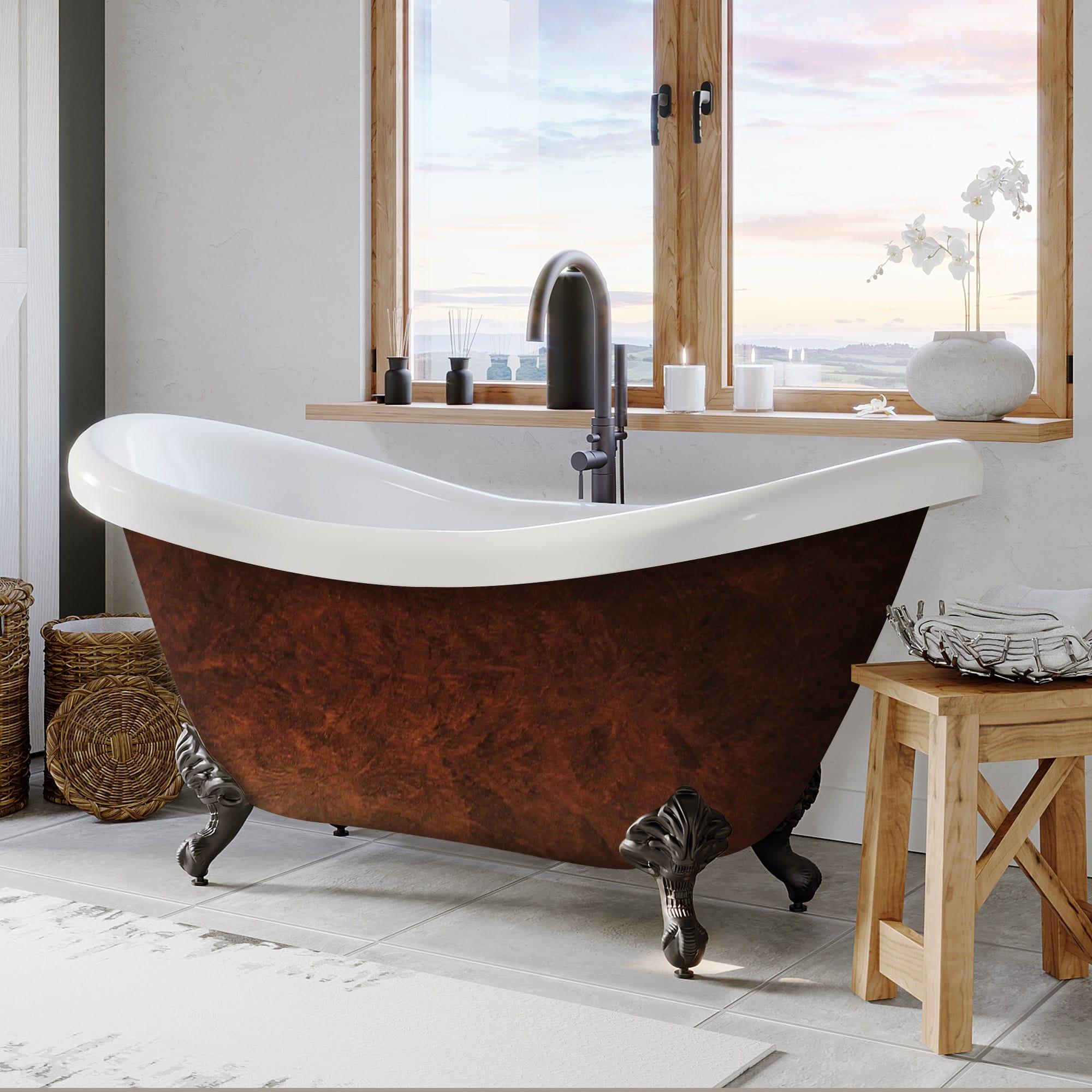 69 Inch Acrylic Copper Bronze Double Slipper Clawfoot Tub