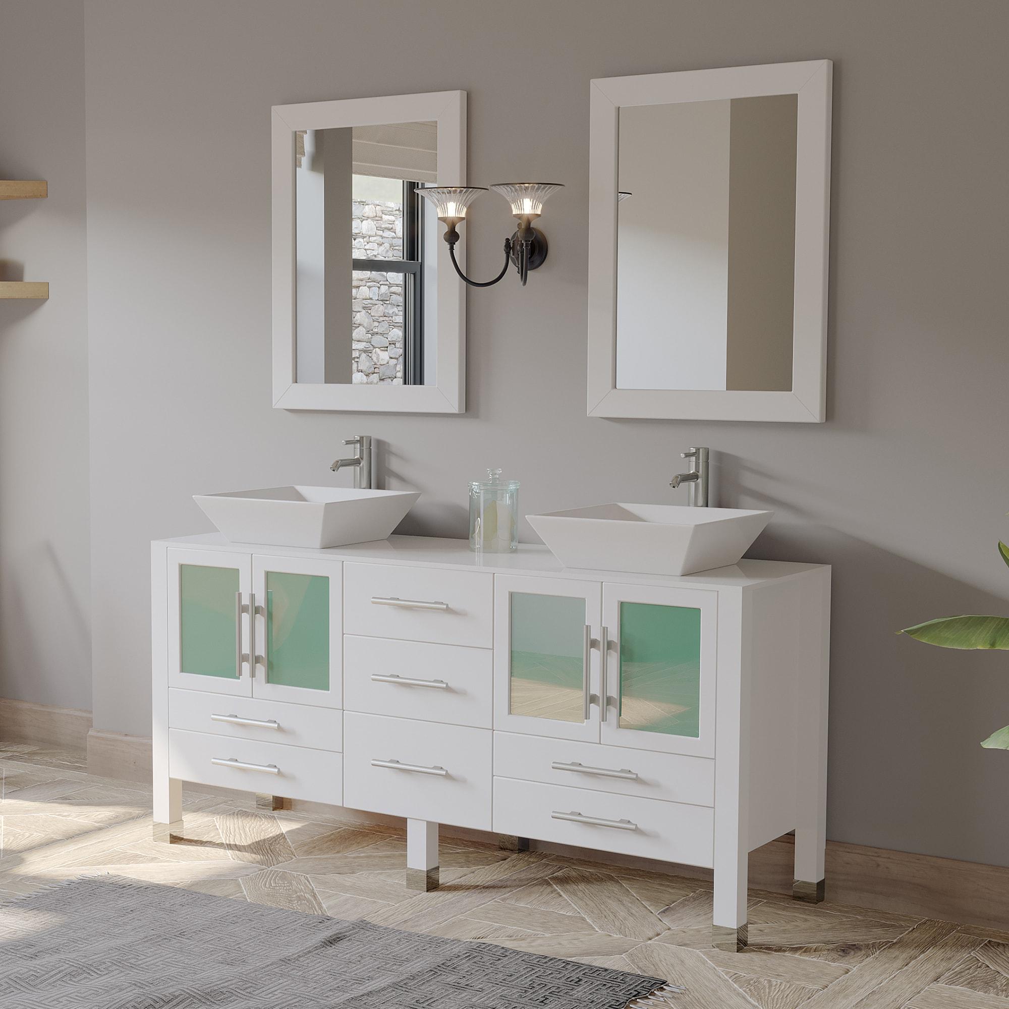 White Oak Wood and Trim Porcelain Vessel Sink Double