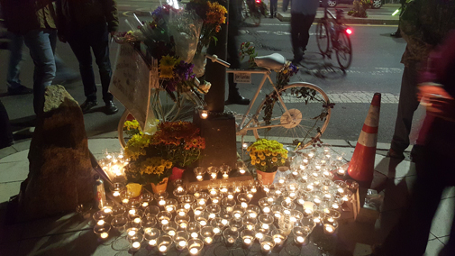 "A ""ghost bike"" memorial is set up Tuesday in Porter Square in memory of bicyclist Bernard ""Joe"" Lavins. (Photo: Andrew Huang)"