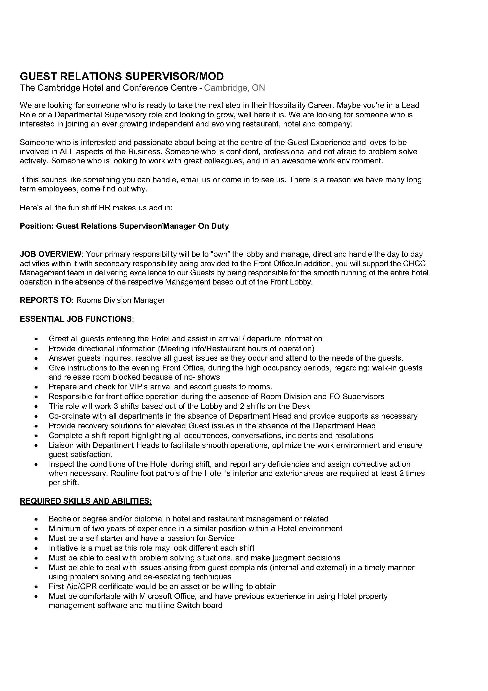 Cambridge Hotel  Employment  Jobs in Cambridge
