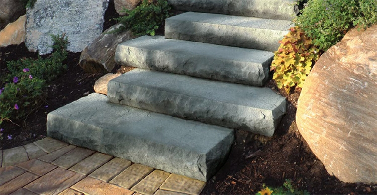 Steps Stairs Cambridge Pavingstones Outdoor Living Solutions | Exterior Stone Stair Treads | Stone Slab | Grey Flagstone Step | Solid Weathered | Carpet Metal Rail Wood Cap | Brick