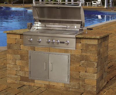 drop in grills for outdoor kitchens kitchen cupboards lights grill modules cambridge pavingstones living solutions pre cut packaged olde english wall module kit