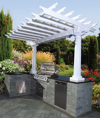 outdoor kitchens kits kitchen design plans cambridge pavingstones living solutions with pre packaged pergola kit