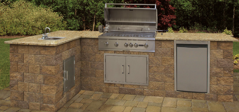 outdoor kitchens kits kitchen installation costs cambridge pavingstones living solutions with pre cut packaged maytrx wall kit