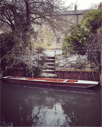 The Cambridge Punt Company - River Cam punt behind house