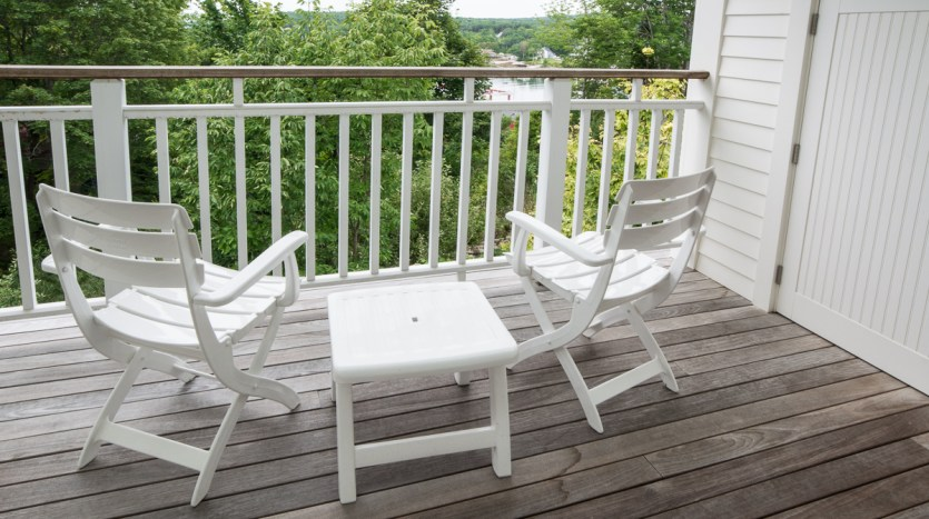 Porch off loft with limited harbor views