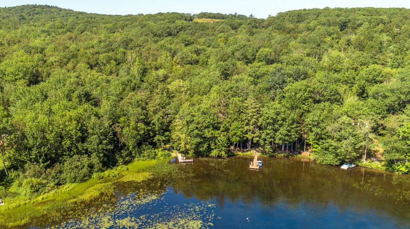 Aerial view of pond and cottage
