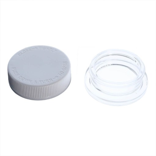 Child Resistant Thick Wall Glass Concentrate Container 15ML White Cap