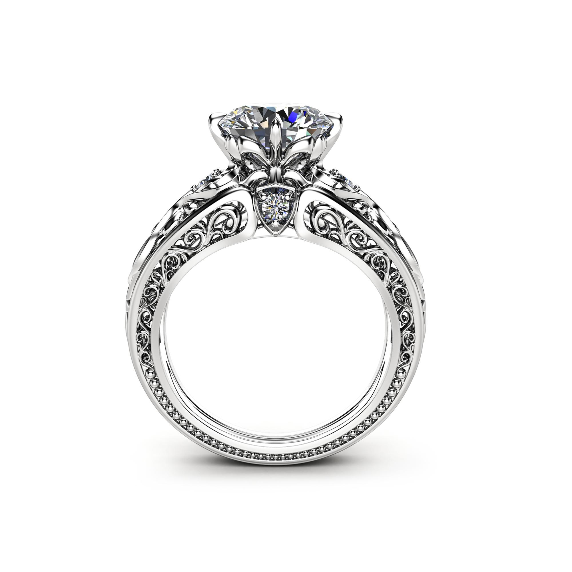 14k White Gold Moissanite Engagement Ring Art Deco Styled