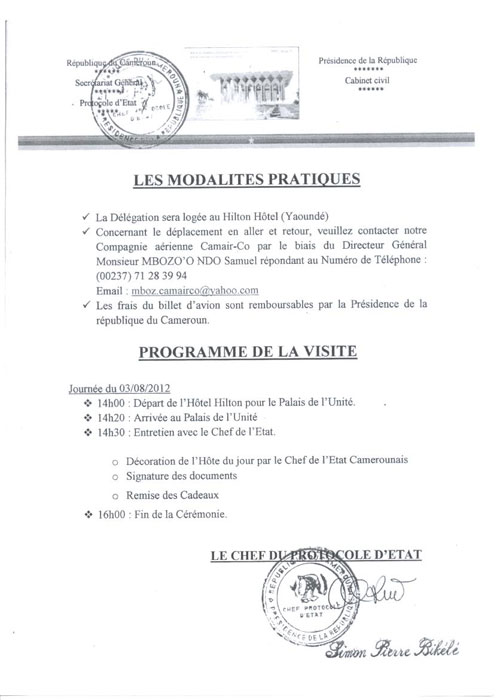 Fraude Invitation cameroun:camer.be