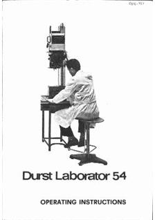 Durst Laborator L 54 Printed Manual
