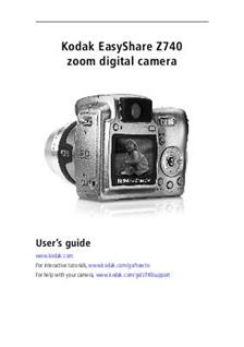 Kodak Easyshare Z 740 Printed Manual
