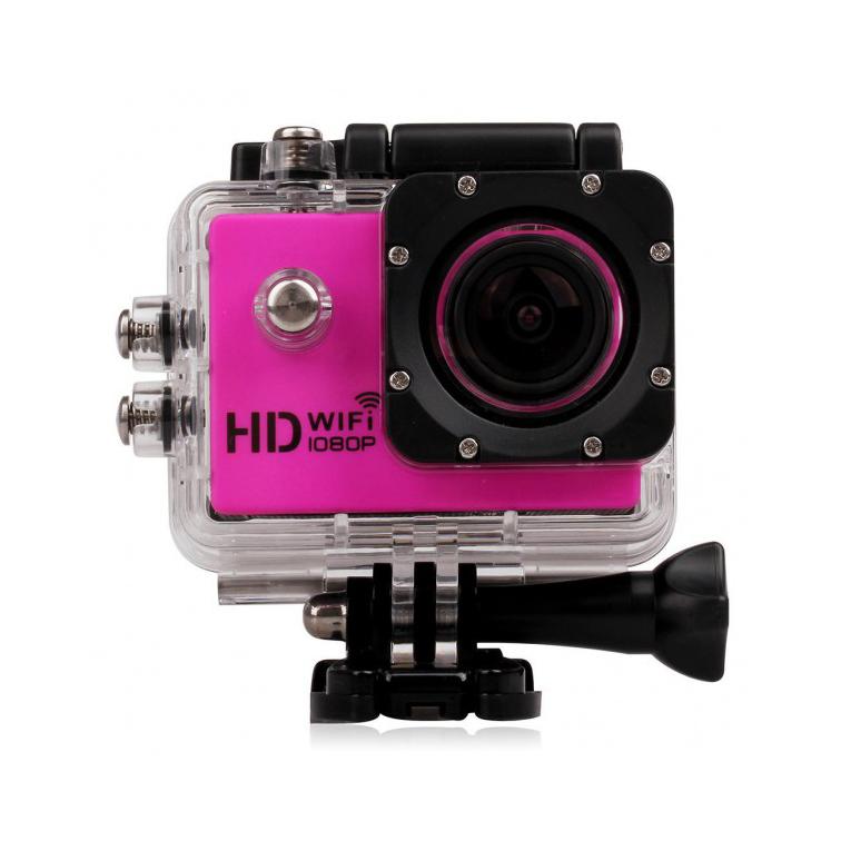 Caméra sport WiFi rose avec caisson étanche