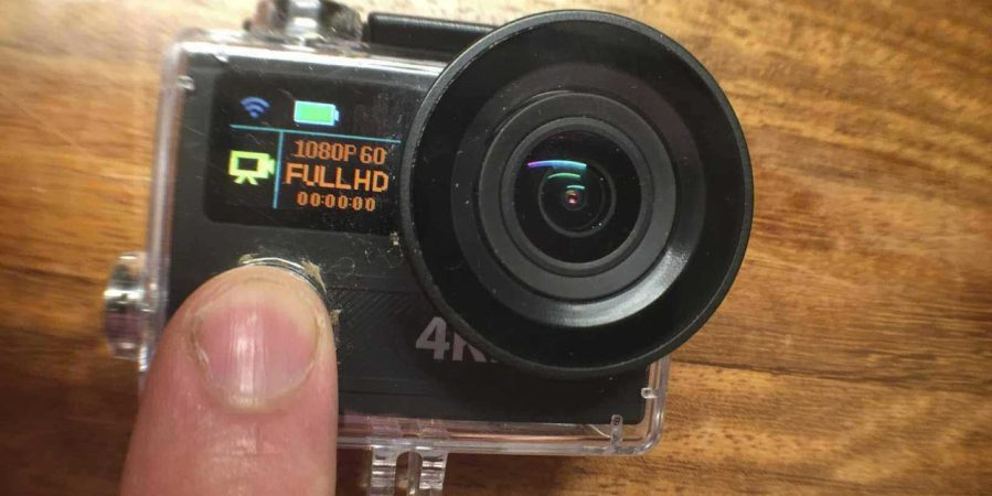 The H8R action camera in use