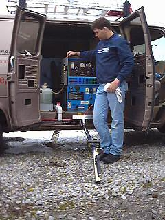 Carpet cleaner comes to clean out our mildew carpet in the trailer