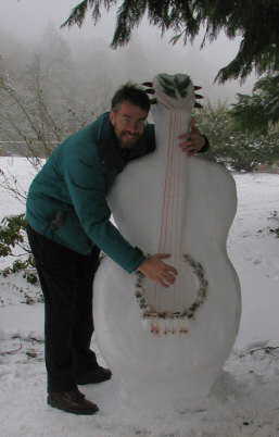 Brent plays the snow guitar