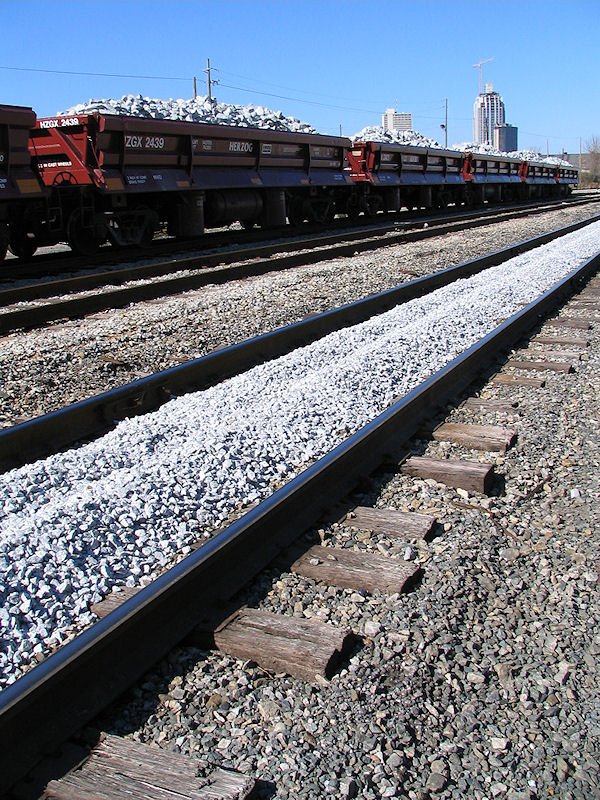 Train line, Mobile, Alabama, filled with cement debris from hurricane katrina