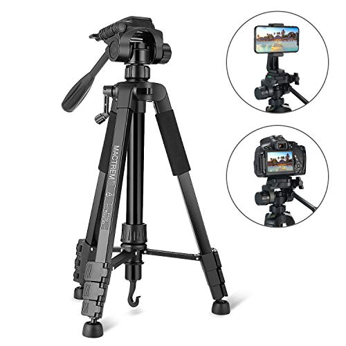 Tripod, Camera Tripod 59″ Portable Phone Tripod with Phone