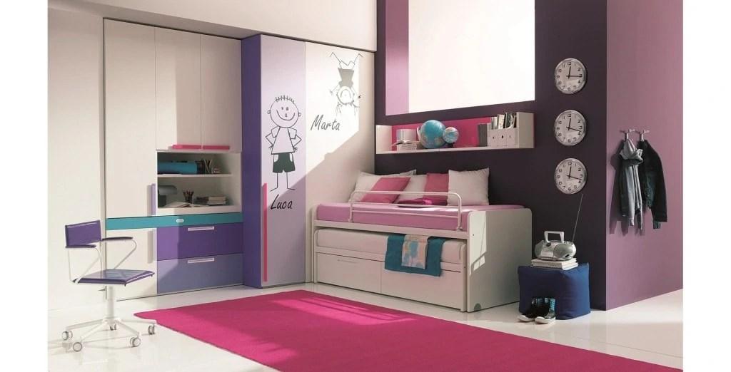 Camerette con doppio letto Spazio condiviso o pareti divisorie