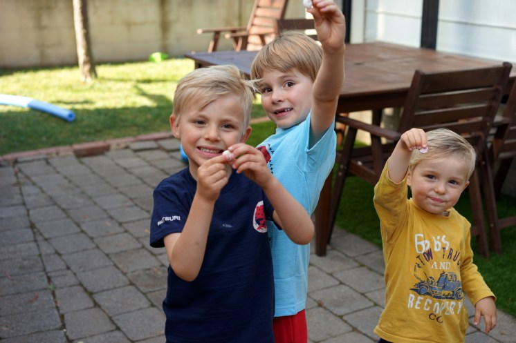 Boys pleased with their Japanese candy