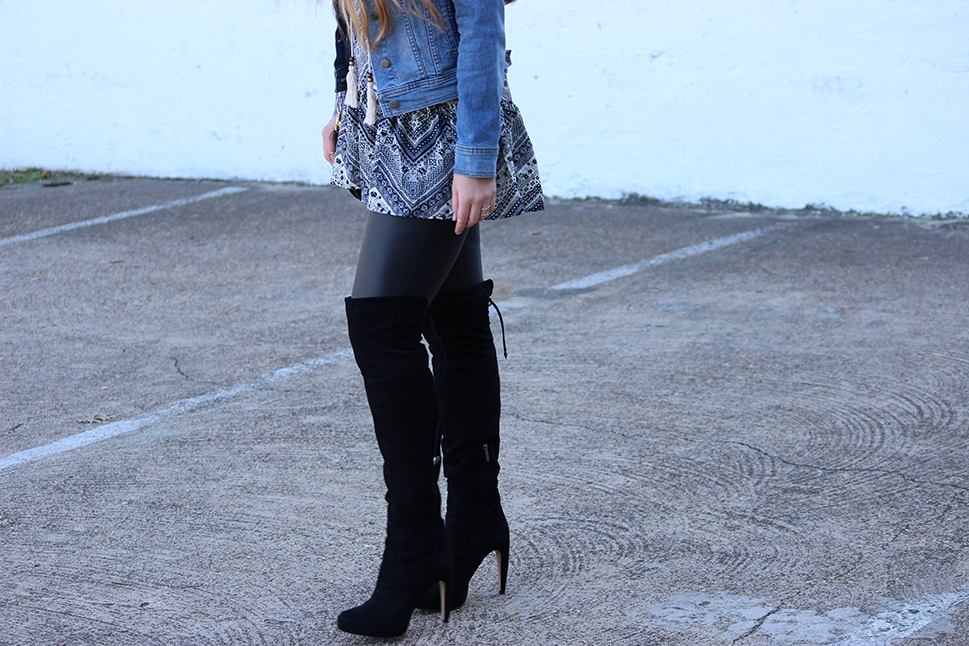 Faux Leather Leggings and Over the Knee Boots  by Cameron