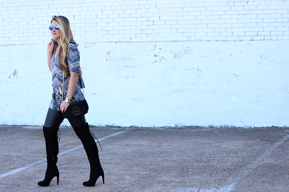 Faux Leather Leggings and Over the Knee Boots  Cameron