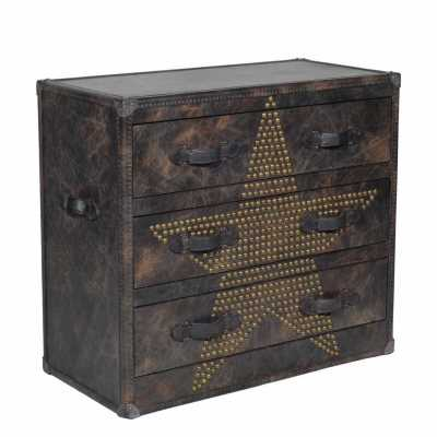 Andrew Martin Howard Star Studded Leather Chest of Drawers