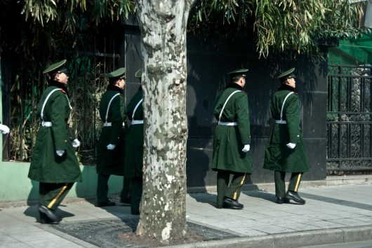 Shanghai soldiers in green