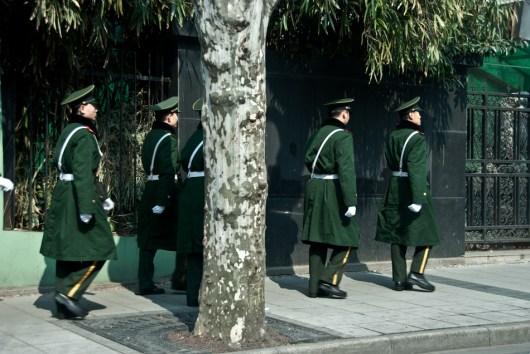 Shanghai soldiers in green