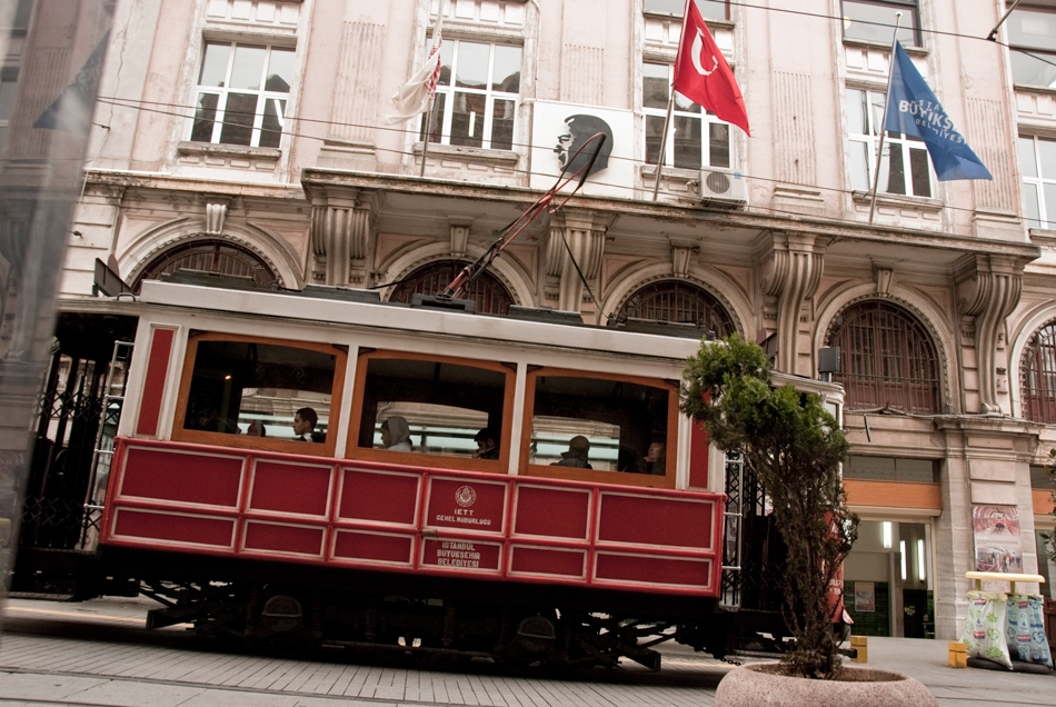 Istanbuli streetcar in the famous street of Istiklal Caddesi.