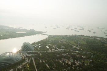 View from Marina Bay Sands Hotel over the Gardens.