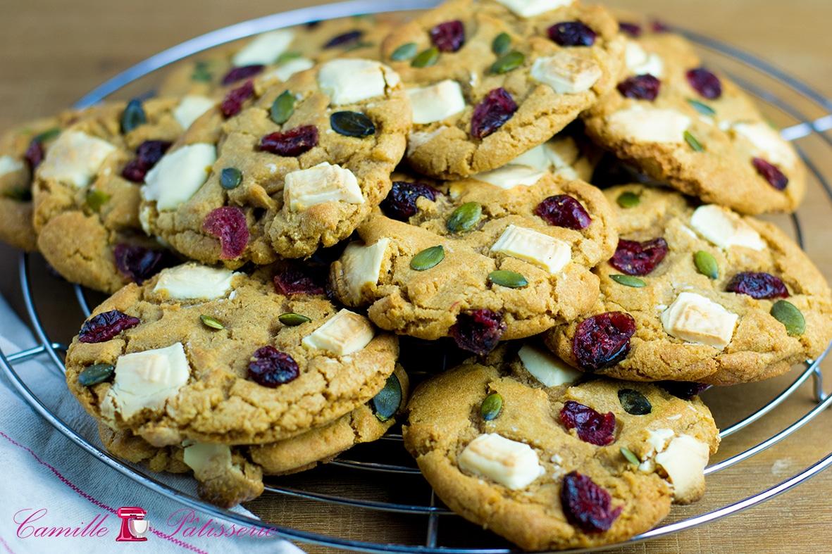 Cookies chocolat blanc, cranberries et graines de courge
