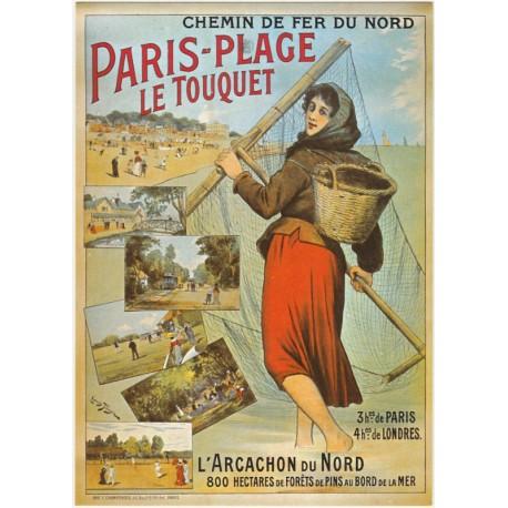 carte postale chemin de fer du nord paris plage le touquet