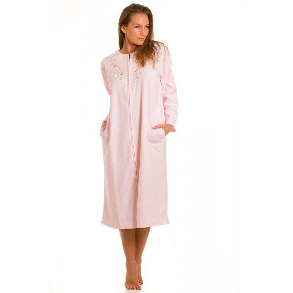 Womens Ladies Pink Zip Dressing Gown Bath Robe Housecoat Nightwear 10-20