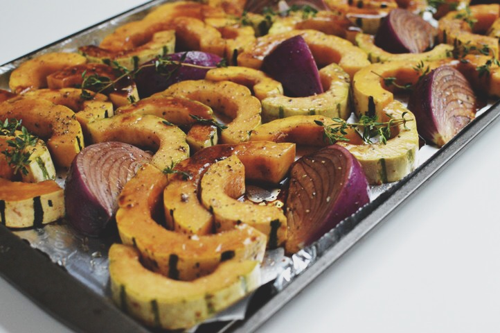 roasted balsamic onions and delicata squash