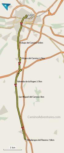 Leon to Villadangos del Paramo Map