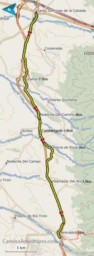 Santo Domingo to Belorado Map