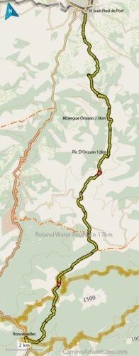 Map St Jean Pied de Port to Rencesvalles Camino Frances