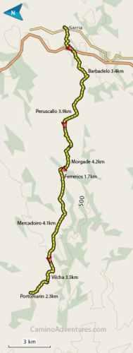 Sarria to Portomarin Map