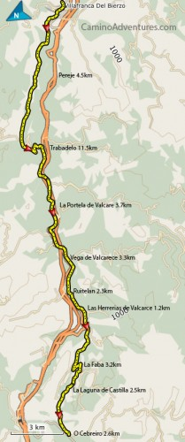 Villafrance del Bierzo to O Cebreiro Map