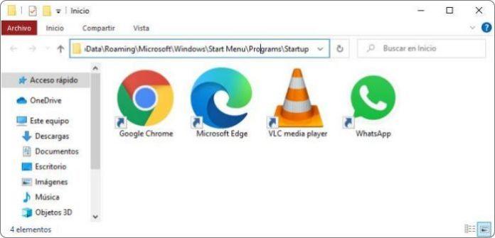 Carpeta Inicio Windows 10