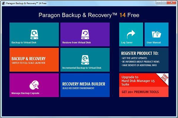 Crear imagen de disco o clonar disco duro con Paragon Backup & Recovery