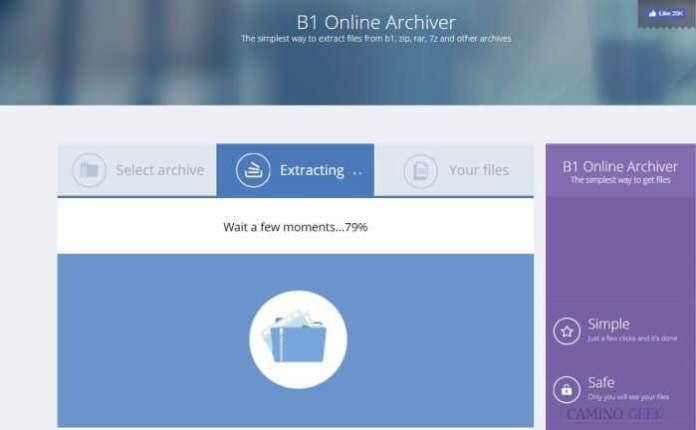 Cómo descomprimir archivos online con B1 Online Archiver