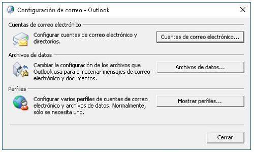 Solucionar problemas en Outlook rehaciendo el perfil
